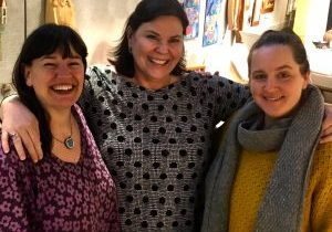 Above: SHCG Shop managers Laura Spreitzer (Tunnel Road), Kelly Yost (Folk Art Center), Kristin Schoonover (Online Store); not pictured: Judy Dillingham (Biltmore) and Ellen Schaller (Moses Cone)