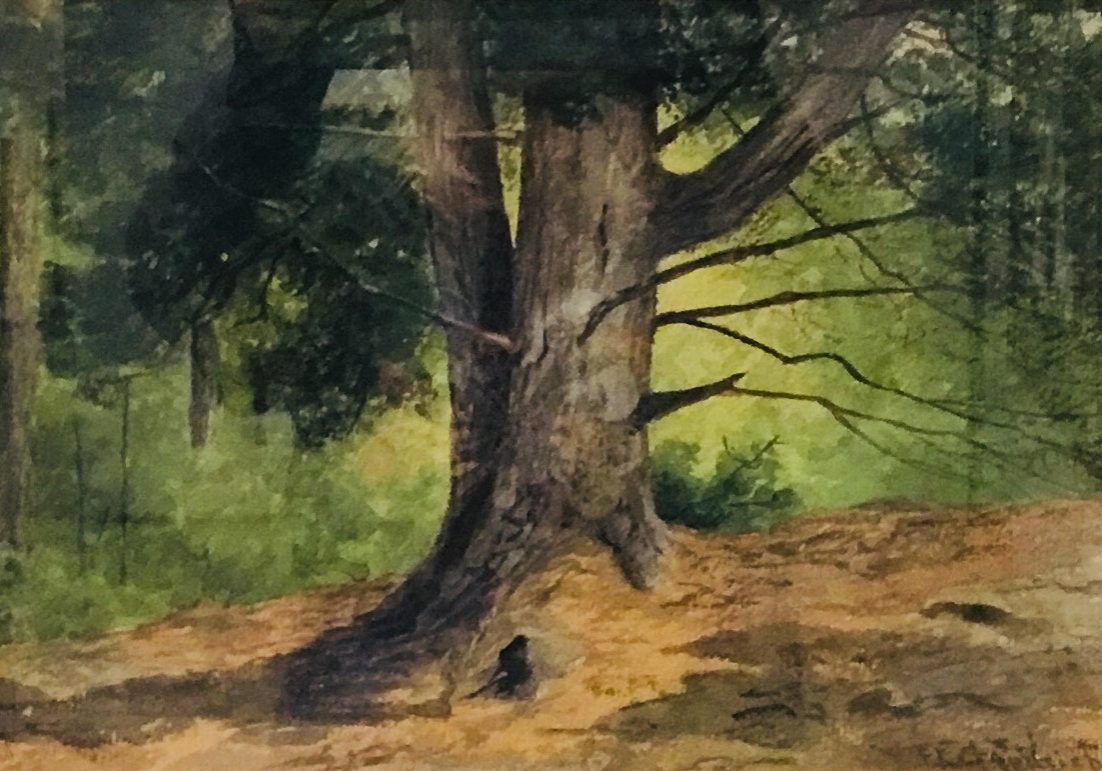 This lovely landscape was painted by the Guild's founder, Frances Goodrich, who bequeathed much of her personal art and craft collection to the Guild. It is currently on view at the Folk Art Center with other objects from the Guild's Permanent Collection.