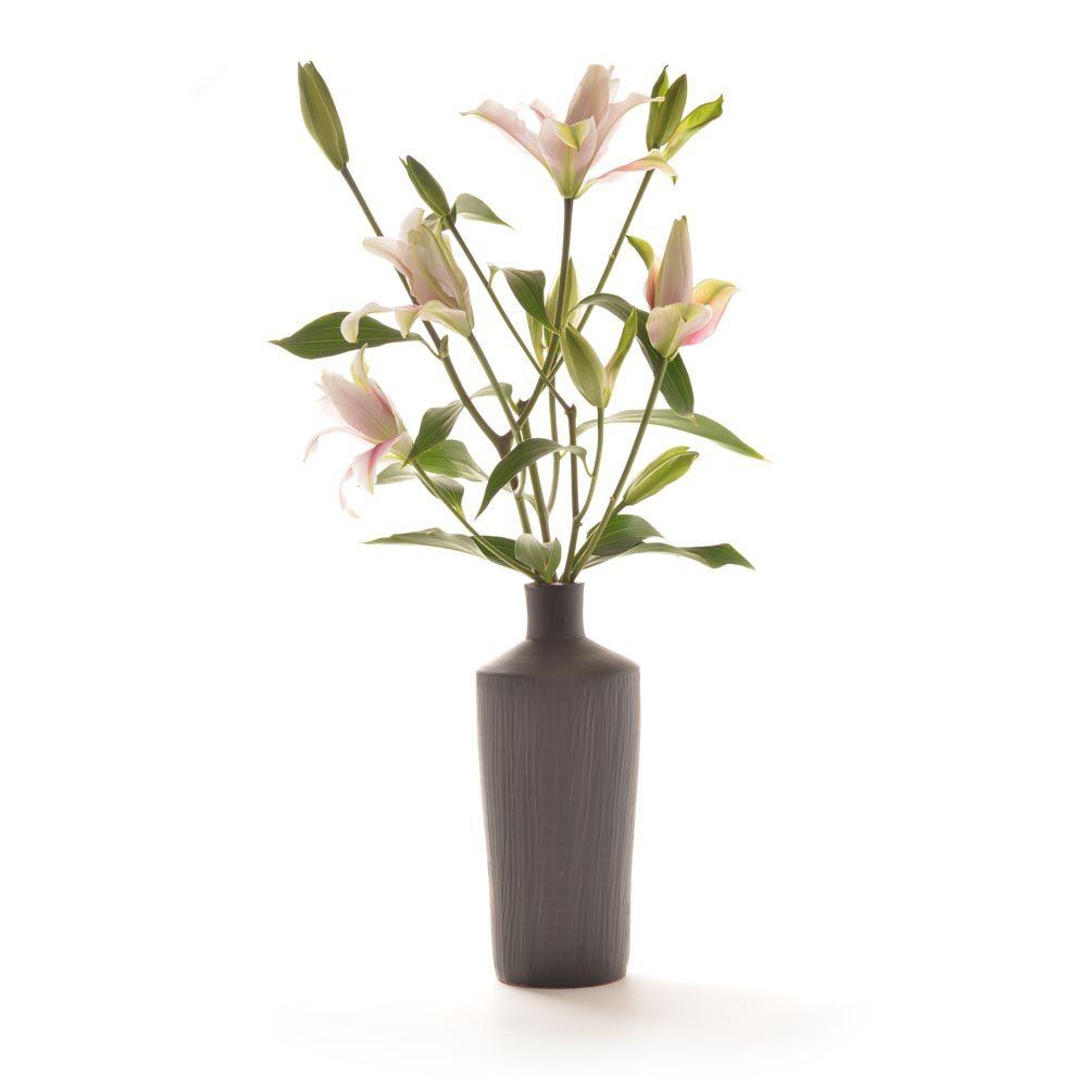 black handmade ceramic bottle vase