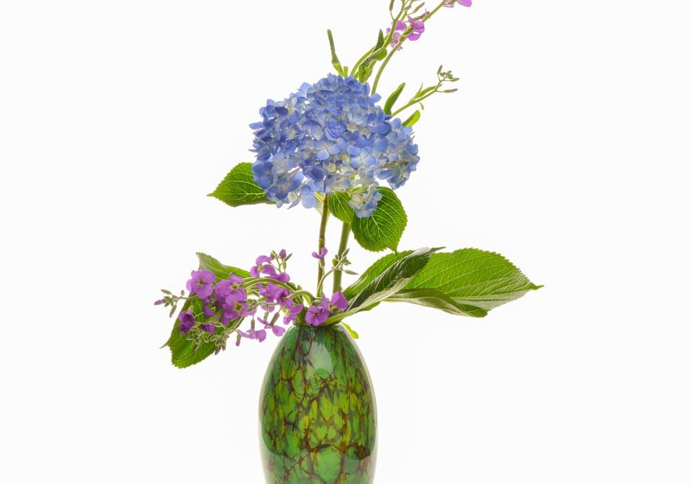 green glass handmade vase, asheville glassblowing