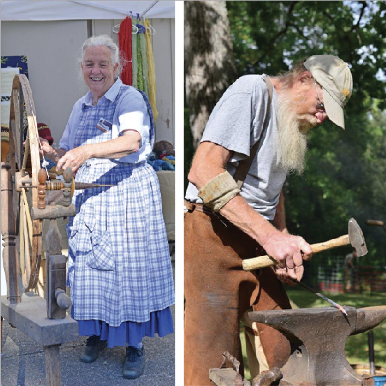 demonstrating craftsmen, spinning wheel and hammering metal, folk art center, asheville special events